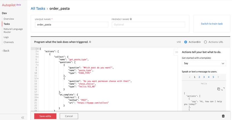 Autopilot Task Editor