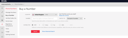 screenshot buy a twilio phone number