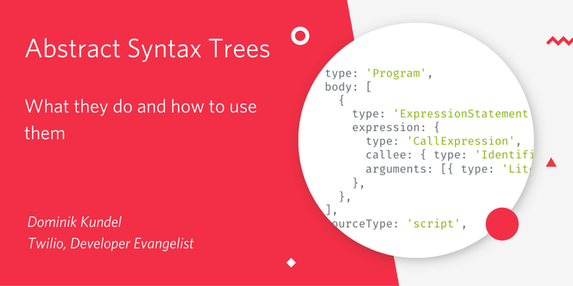 "Decorative image saying ""Abstract Sytnax Trees - What they do and how to use them"""