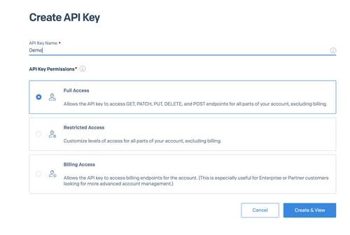Screenshot of API Key Creation in sendgrid