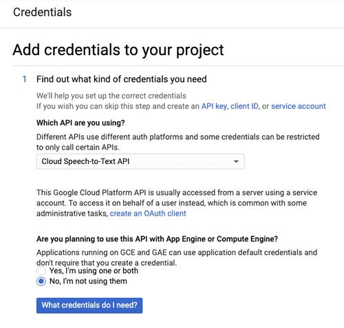 add credentials GCP