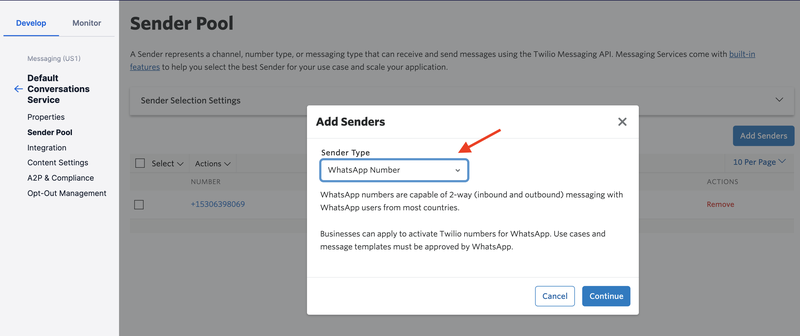 Add WhatsApp-enabled Twilio Number to Default Conversations Service.png