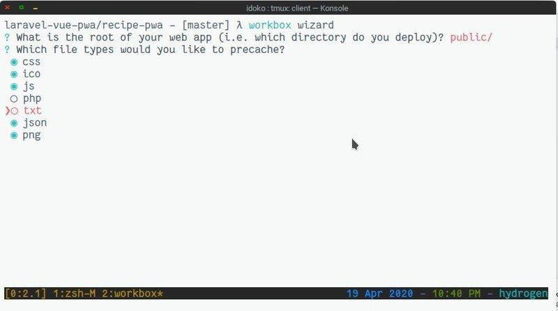 Configurando o Workbox com o assistente do Workbox