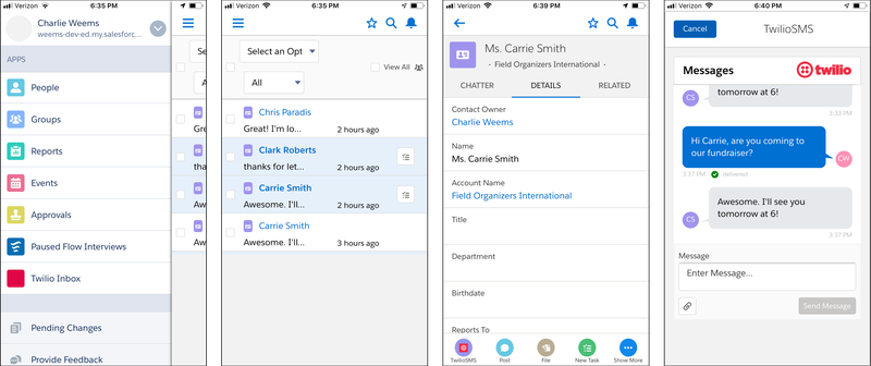 Twilio for Salesforce Mobile