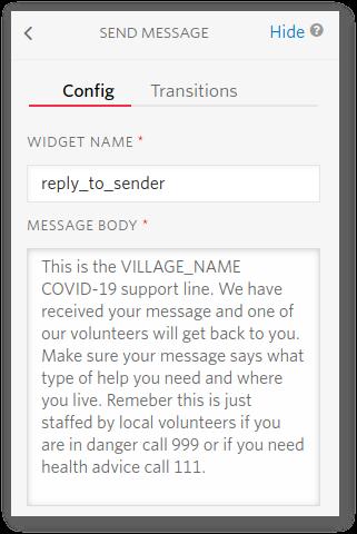 """Screenshot of the """"Send Message"""" widget"""
