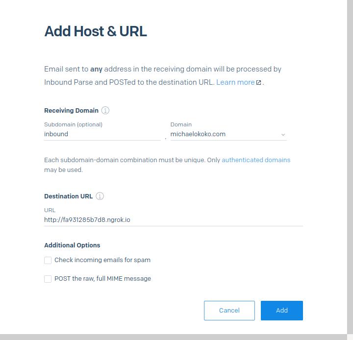 Add Host & URL to SendGrid Inbound Parse