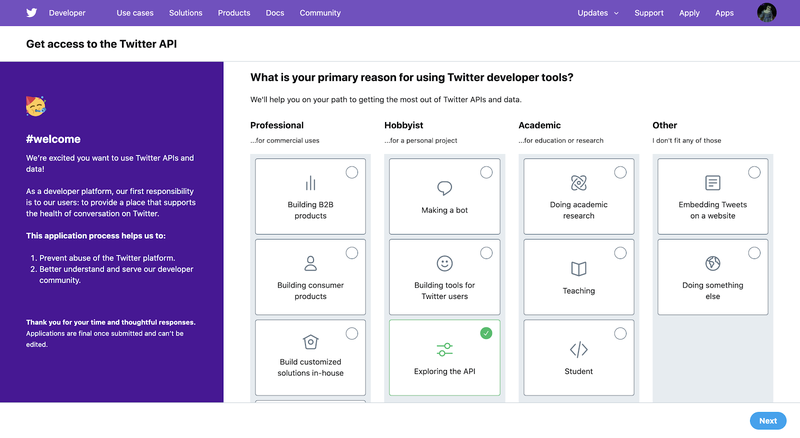 What is your primary reason for using Twitter developer tools?