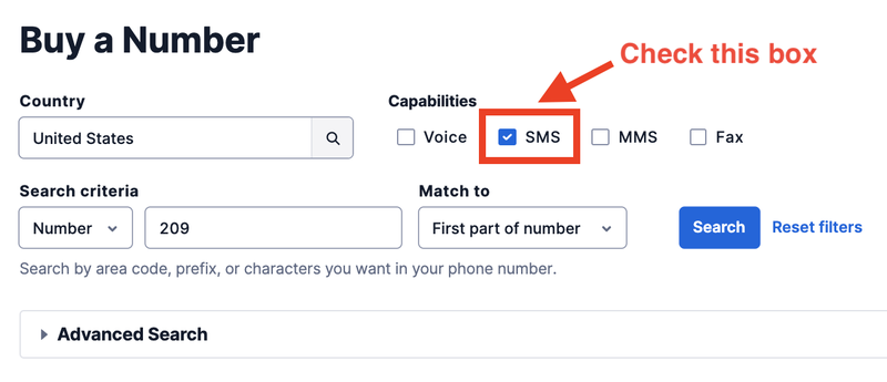 Search for SMS Capable Number