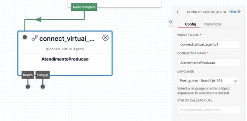 Tela do Twilio Studio exibindo detalhe da configuração do componente de conexão com o agente do DialogFlow e seleção do idioma em Português