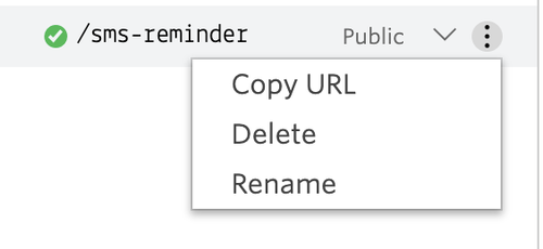 screenshot of where to find the options in Functions to grab the URL