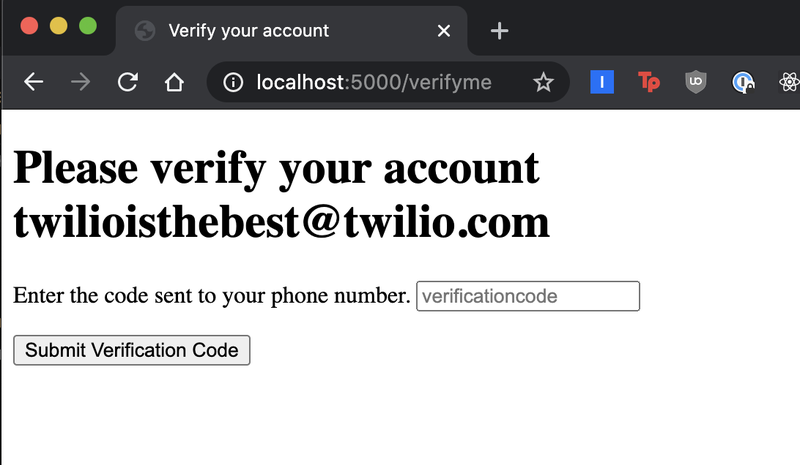 """screenshot of localhost:5000 """"verifyme"""" page prompting the user to submit their verification code"""