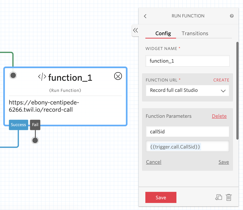 Twilio function trigger in Studio.