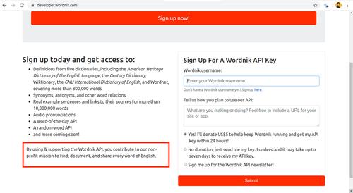 Request Wordnik API key