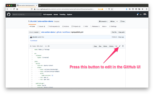 screenshot of GitHub view of the workflow file with an arrow pointing to the edit button