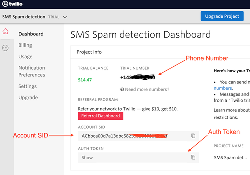 Twilio Dashboard showing Account SID and Auth Token