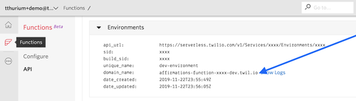 "Screenshot of the Functions section of the Twilio console. Under the ""Environments"" header, an arrow points to a domain_name, which in this case is affirmations-function-xxxx-dev.twil.io."