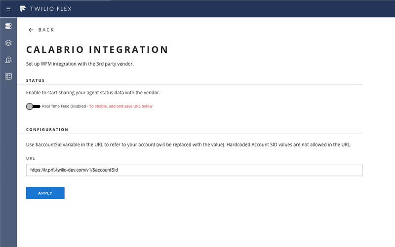 Calabrio ONE Integration Configure Page