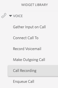 Call Recording in Widget Library
