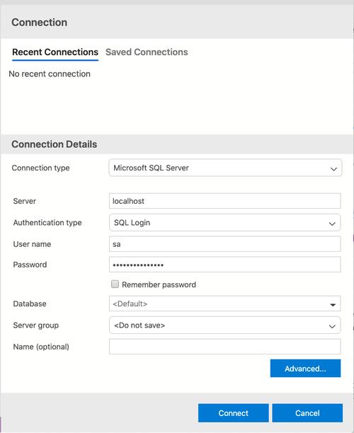 screenshot of connection wizard in Azure Data Studio
