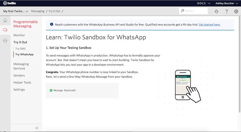 WhatsApp Sandbox connection success screen