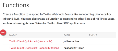 Twilio Client QS Function Listing