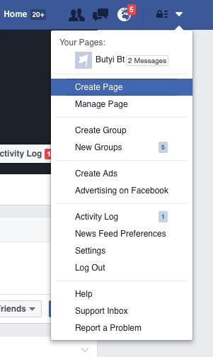 新規Facebookページの作成