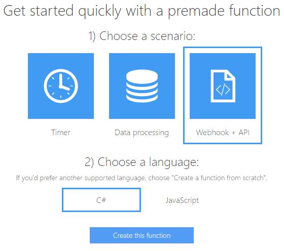Azure - Create function