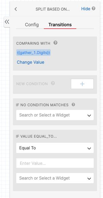 Detalhe do Twilio Studio com as configurações de transição para os próximos componentes de acordo com as condições criadas.