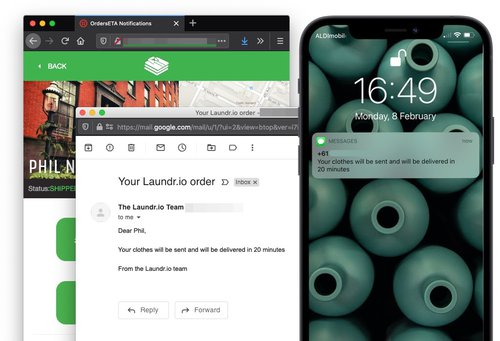 The same view of the app and a phone with a notifcation as earlier, this time there is also an email notification.
