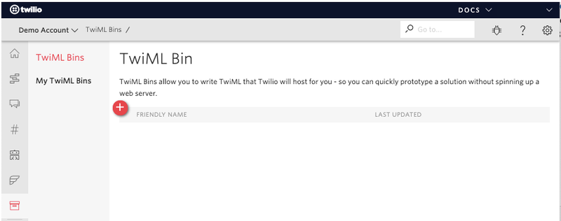 Create a TwiML Bin.