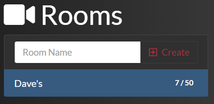 video chat Rooms list after adding a room