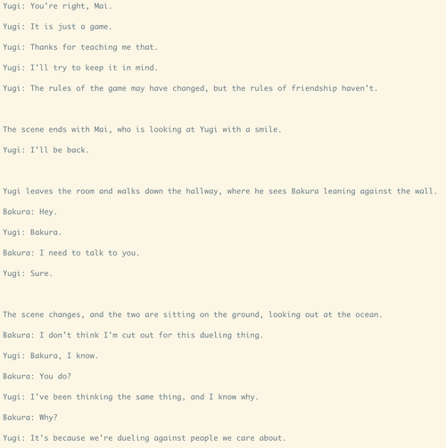 Computer generated Yugioh dialogue