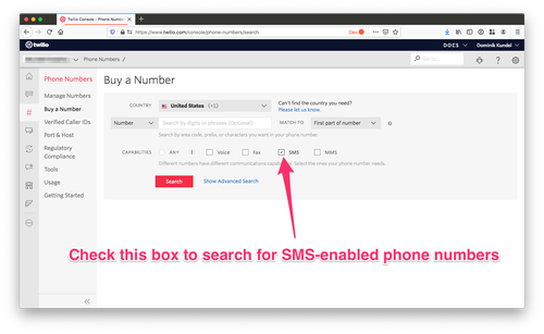screenshot of Twilio Console with arrow pointing at SMS capability checkbox in Phone Numbers screen