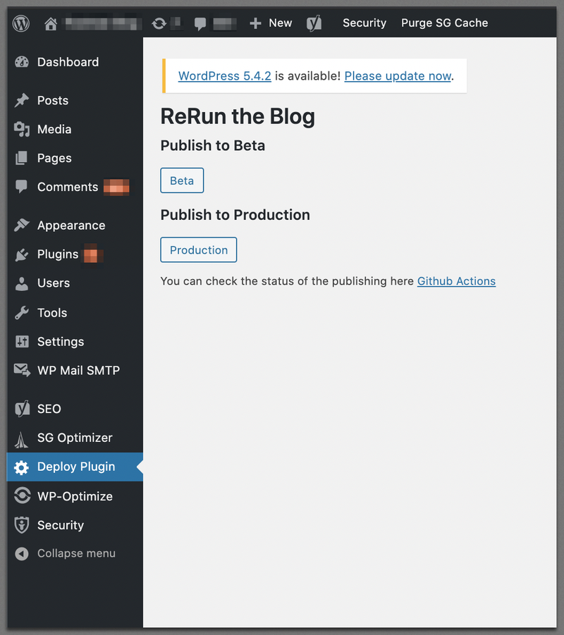 WordPress Deploy Plugin screen