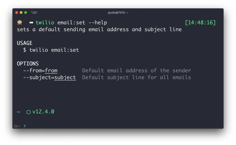 Help instructions afte running `twilio email:set --help`