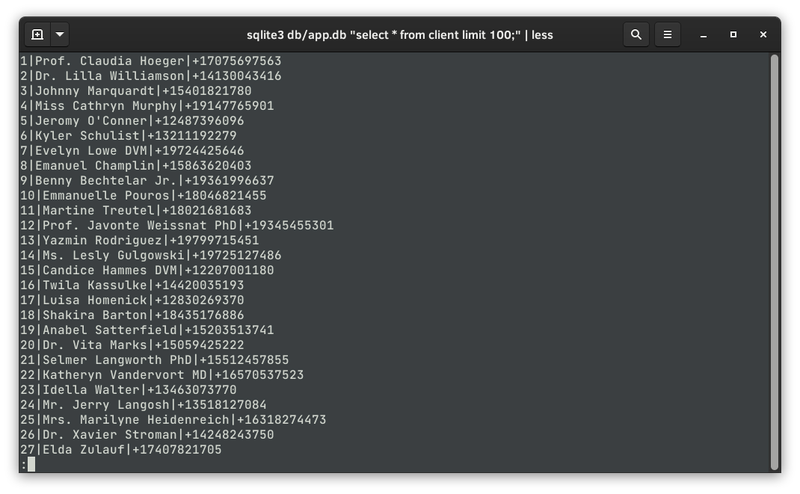 Listing the seeded user records in the terminal