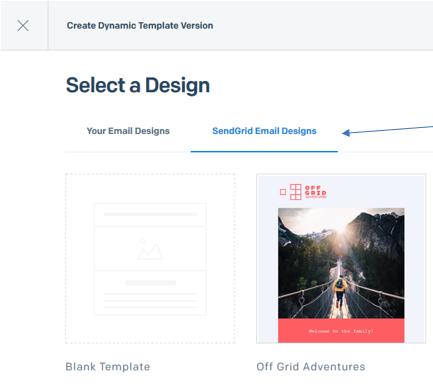 select a sendgrid design