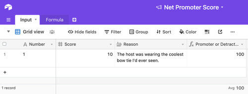 """Screenshot of an Airtable base using the schema described in the previous paragraph. There's one field. Number=1, Score=10, Reason=""""The host was wearing the coolest bow tie I'd ever seen."""" The calculated NPS value is 100."""