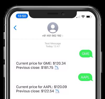 Sucesso! Enviar um símbolo de ações para o número de telefone retorna o preço atual e uma comparação com o preço de fechamento do dia anterior. Aparentemente, escolhi um dia ruim no mercado de ações para tentar isso. A GameStop ficou abaixo de US$ 60 e a Apple abaixo de US$ 2,45.