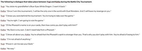 Yugioh dialogue generated by a sentence describing the scene