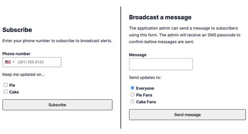 subscribe and broadcast screens in the example application