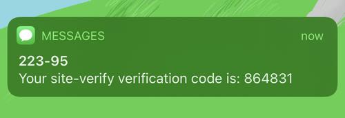 screenshot of the Twilio Verify service sending a verification code notification on the phone