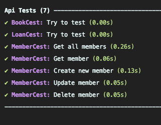 Output of the second run of the API tests