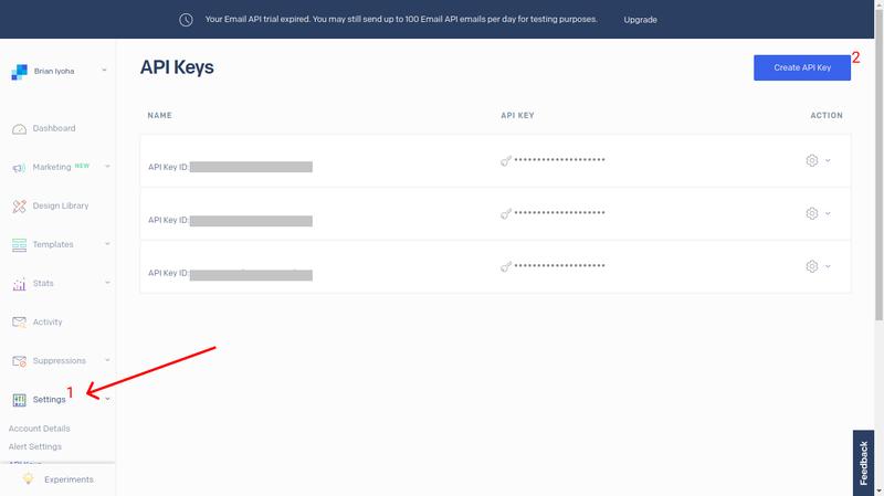 SednGrid API Key Dashboard