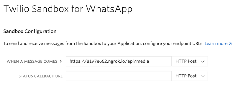 Twilio WhatsApp Settings