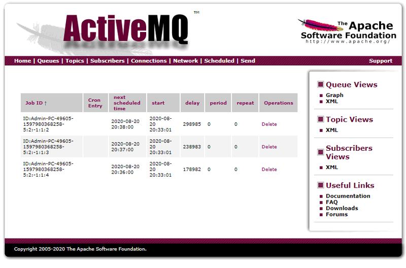 ActiveMQ Scheduled page screenshot