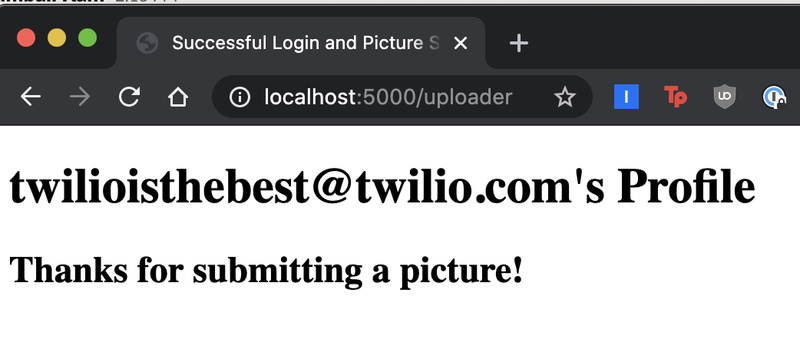 """screenshot of localhost:5000 """"uploader"""" page indicating the success of the uploaded file"""