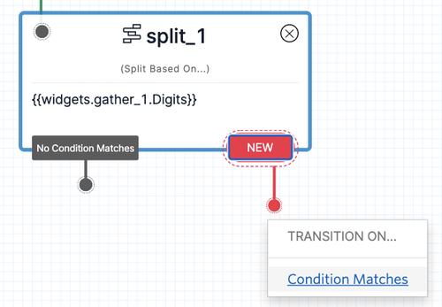 Detalhe do Twilio Studio com a criação de nova comparação no componente de decisão