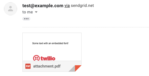 Screenshot of Email with attachment