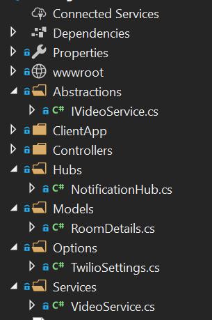 Estructura del servidor en detalle del navegador de soluciones de Visual Studio